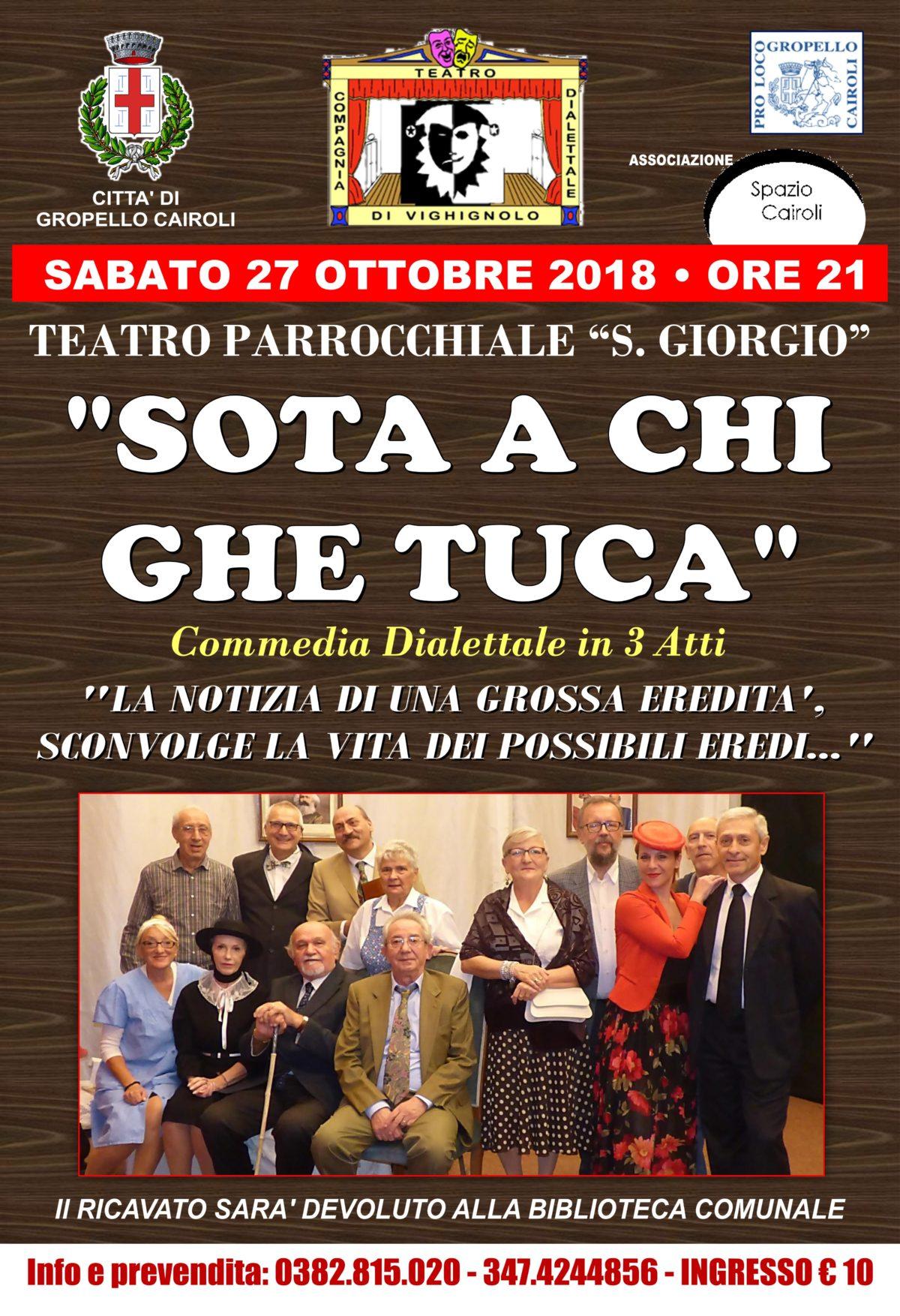 """Biblioteca: commedia dialettale """"Sota a chi ghe tuca"""" sabato 27 ottobre ore 21,00"""