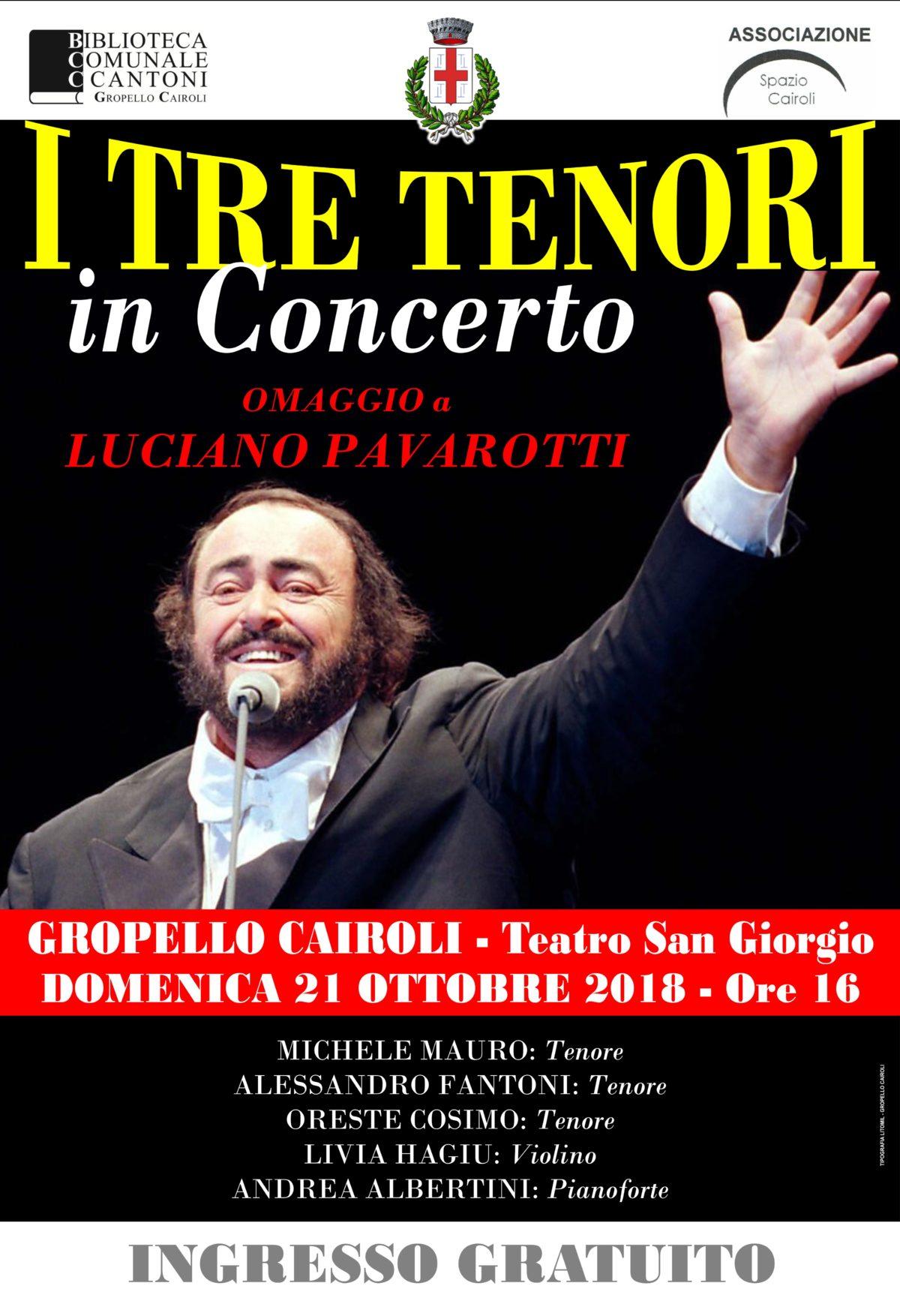 """Biblioteca: domenica 21 ottobre ore 16,00 concerto """"I tre tenori: omaggio a Luciano Pavarotti"""""""