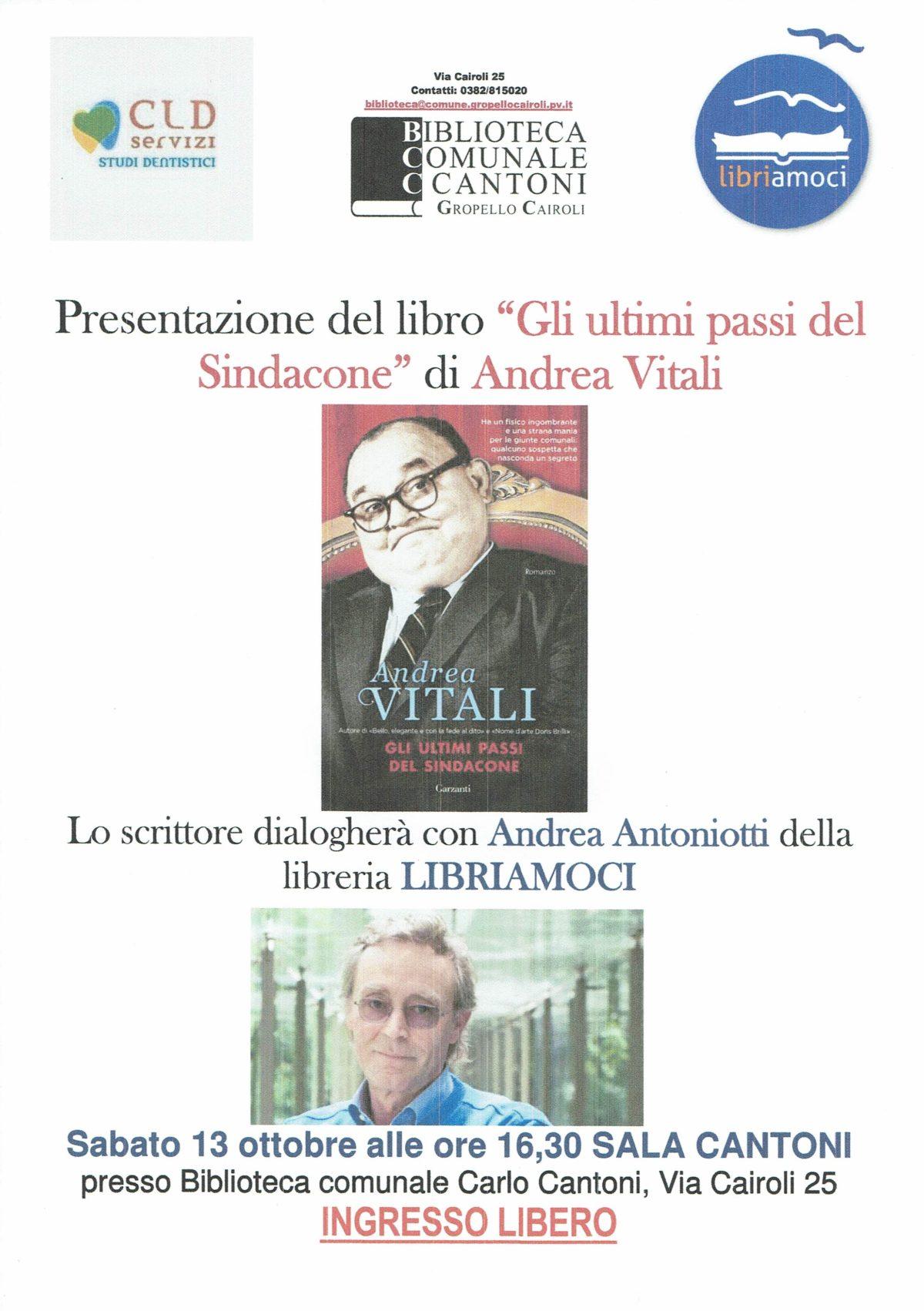 Biblioteca: Sabato 13 ottobre ore 16,30 incontro con lo scrittore Andrea Vitali