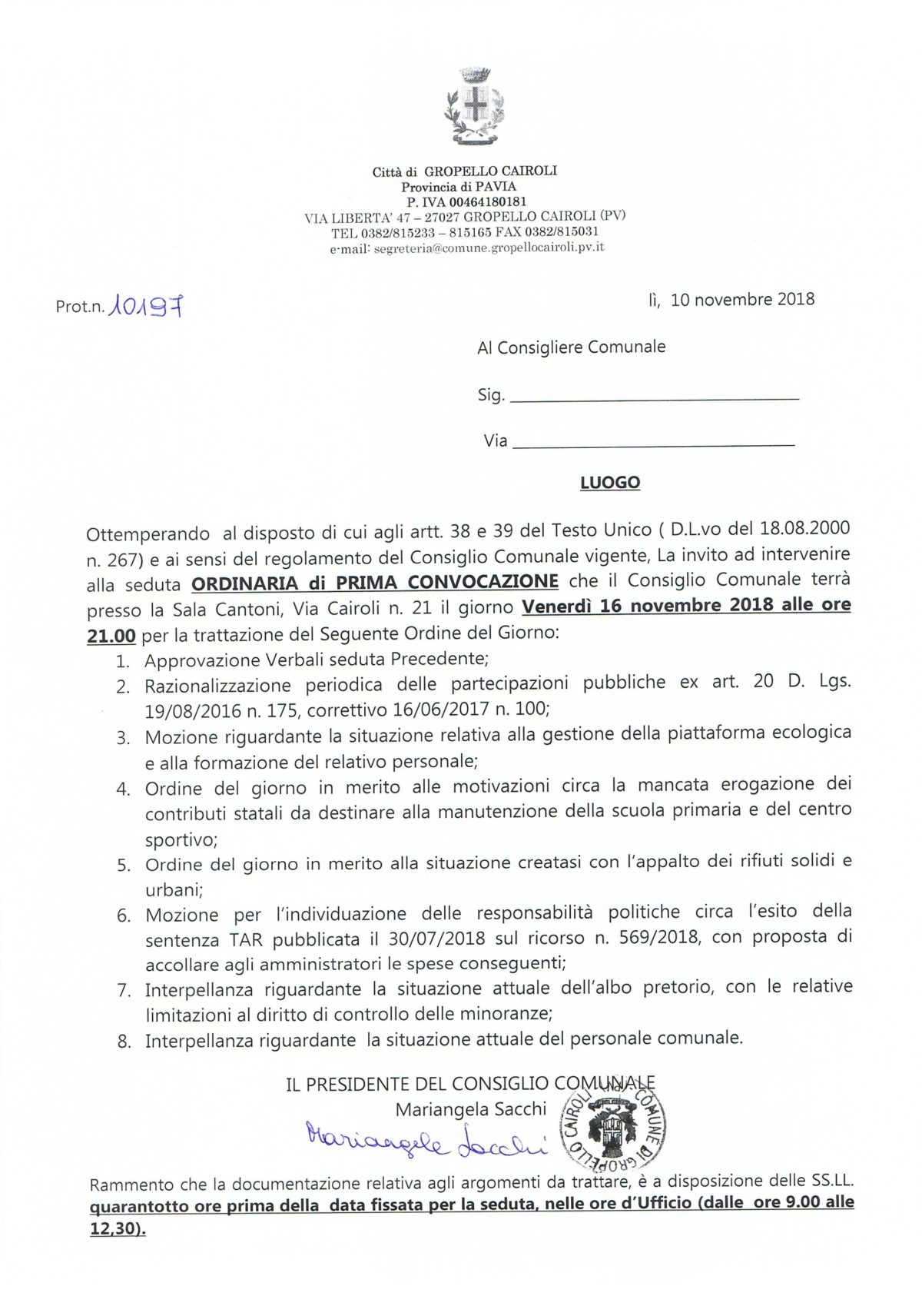 Ordine del giorno del Consiglio Comunale del 16 novembre 2018