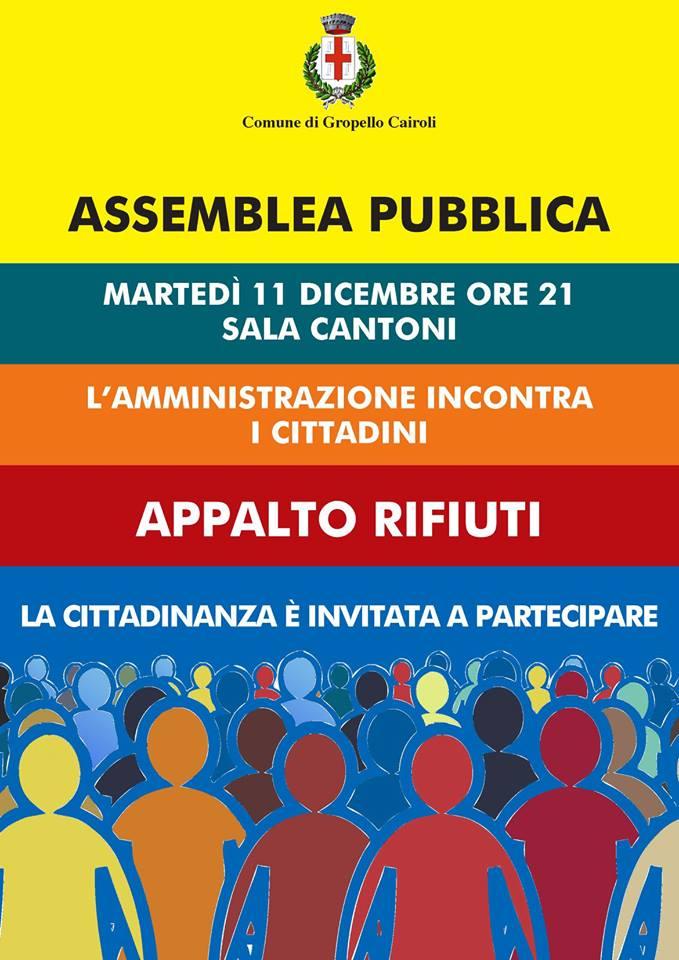 Martedì 11 dicembre in Sala Cantoni alle ore 21,00 Assemblea pubblica Appalto Rifiuti