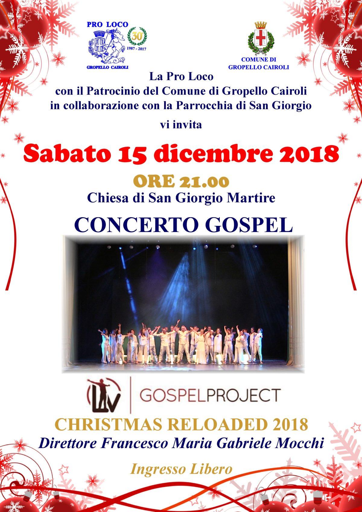 Sabato 15 dicembre Concerto Gospel