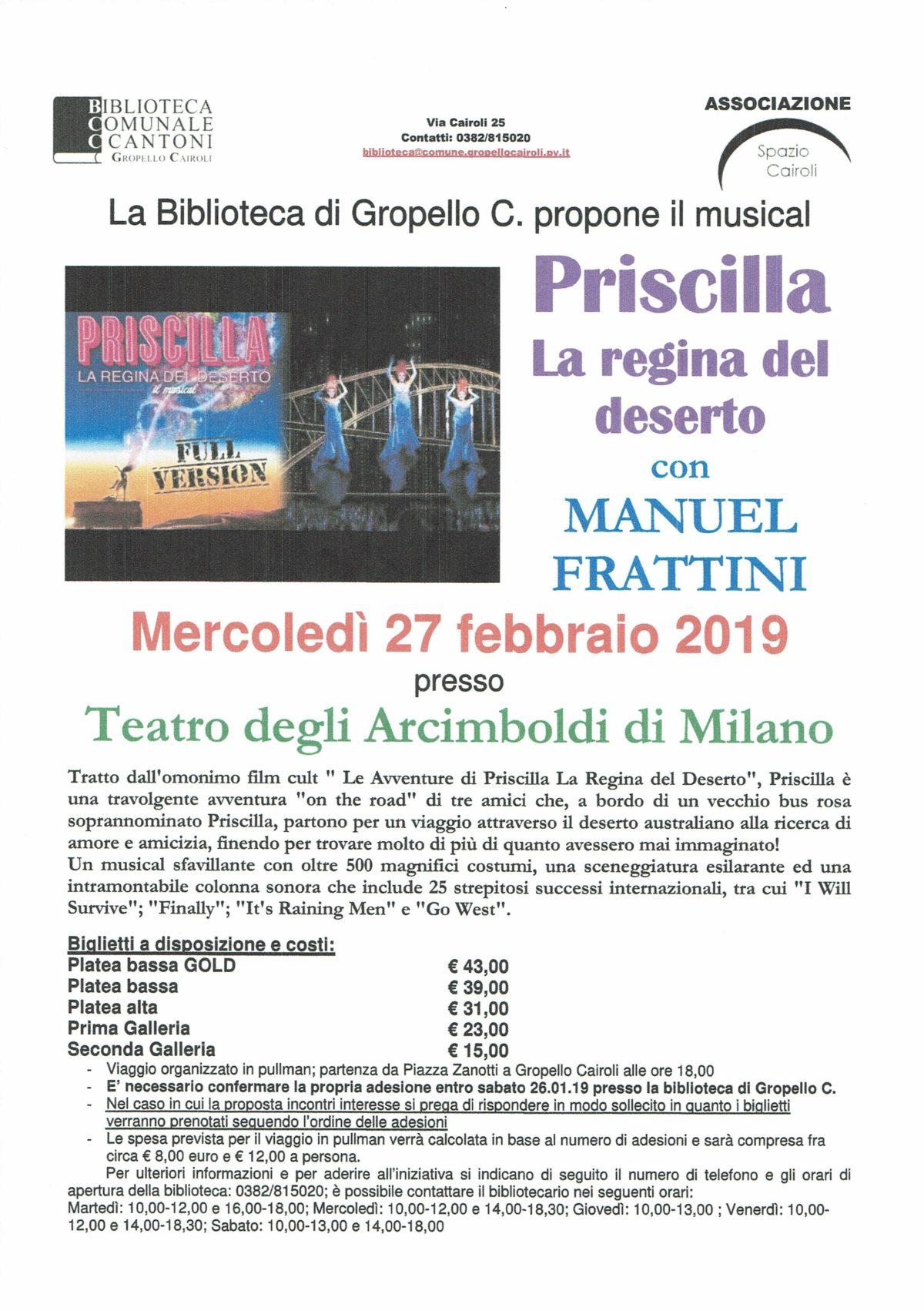 Biblioteca: musical Priscilla al teatro degli Arcimboldi mercoledì 27 febbraio 2019
