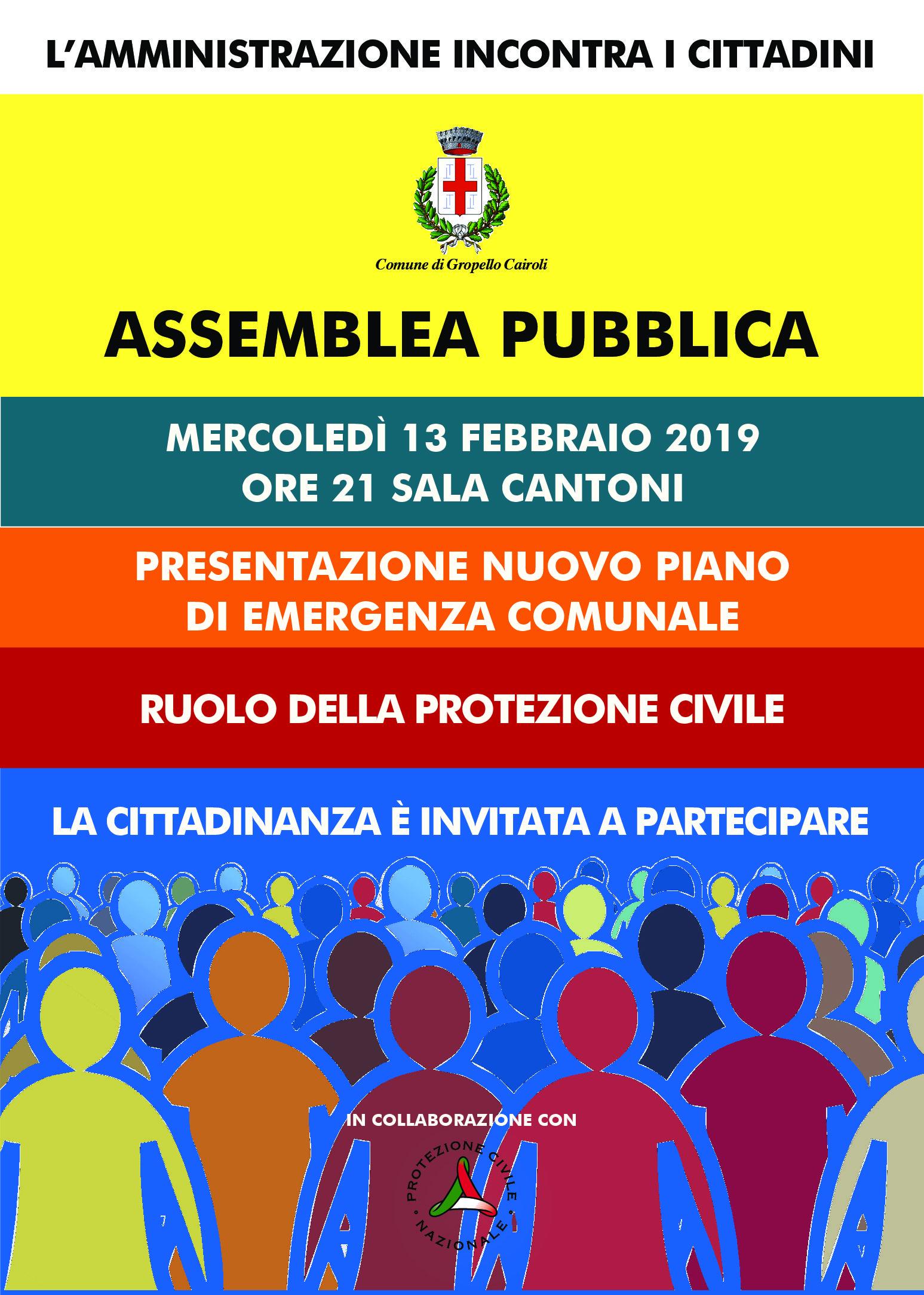 Assemblea pubblica mercoledì 13 febbraio ore 21 Sala Cantoni – Presentazione nuovo piano di emergenza comunale – Ruolo della protezione civile