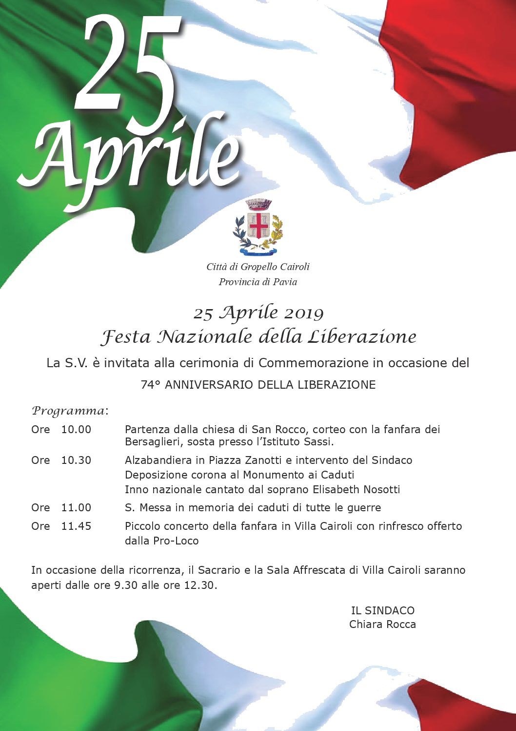 Programma 25 Aprile 2019 – Festa Nazionale della Liberazione