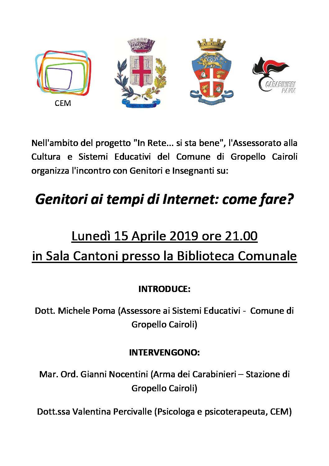 """Conferenza """"Genitori ai tempi di Internet: come fare?"""" Lunedì 5 aprile ore 21,00 Sala Cantoni"""