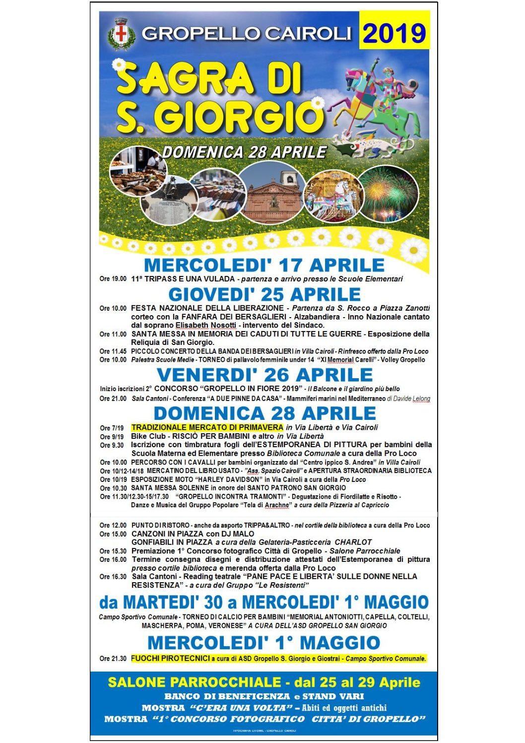 Programma Sagra di San Giorgio 2019