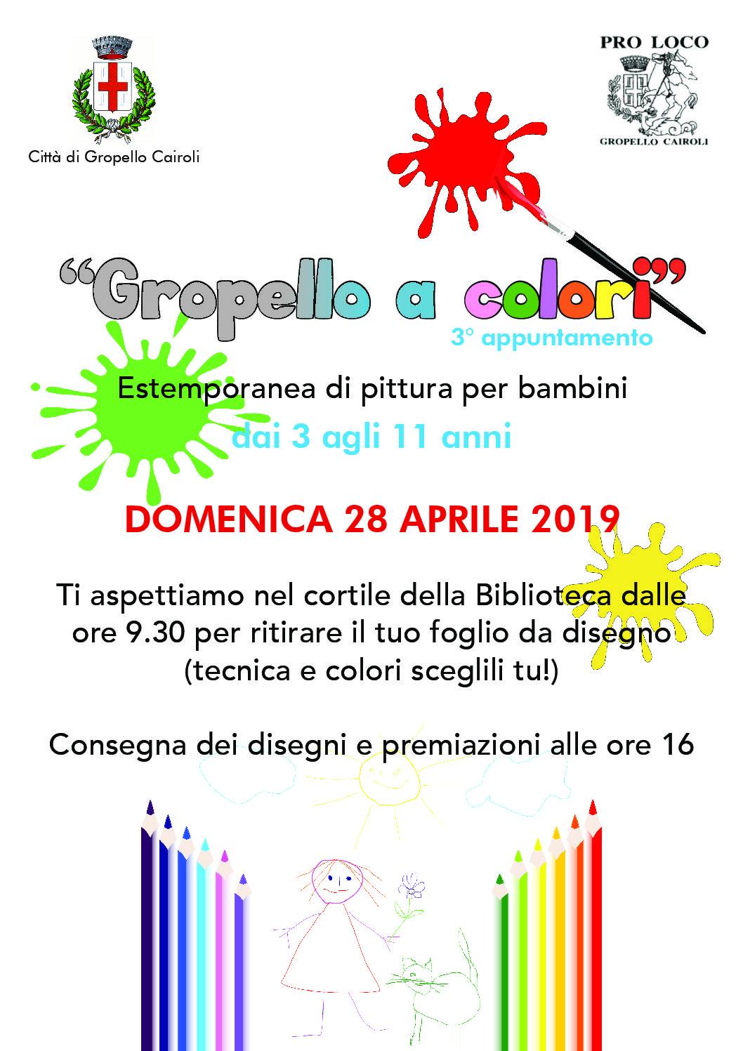 """Domenica 28 aprile """"Gropello a colori: estemporanea di pittura per bambini da 3 a 11 anni"""""""