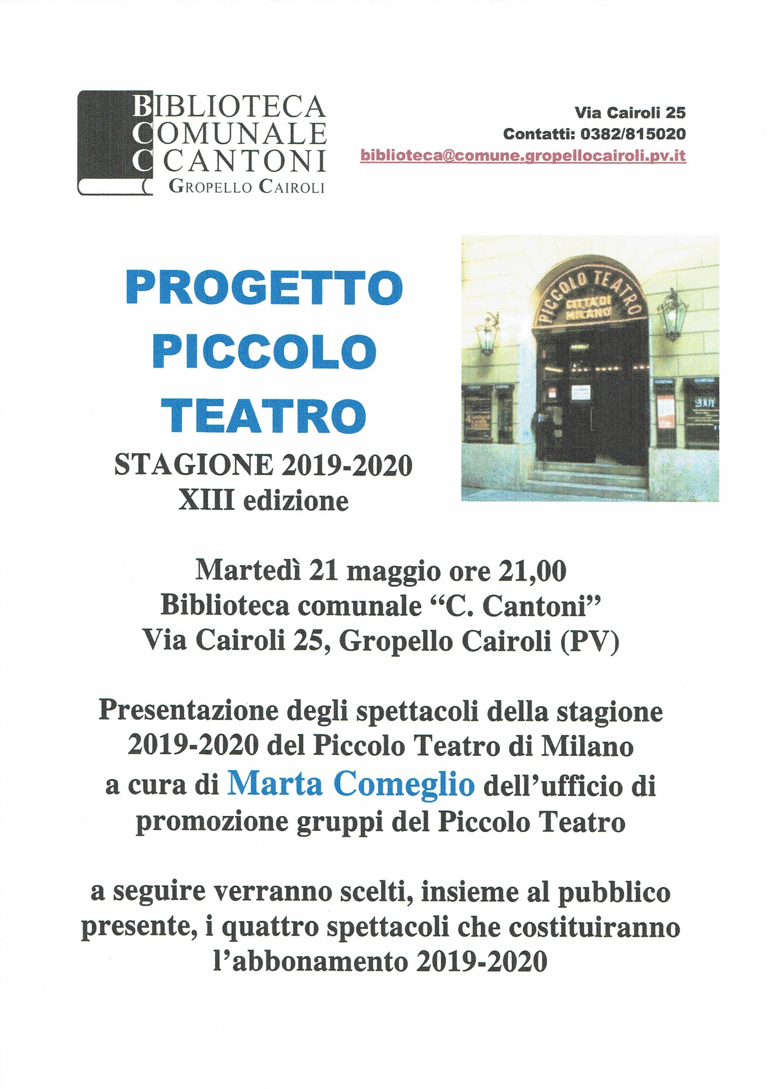 Incontro Per Gli Spettacoli 2019 2020 Del Piccolo Teatro Con Marta Comeglio