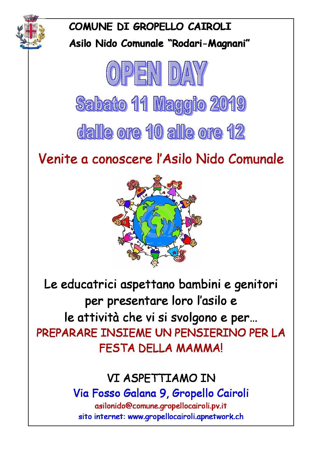 Sabato 11 maggio 2019 Open Day Asilo Nido dalle 10 alle 12