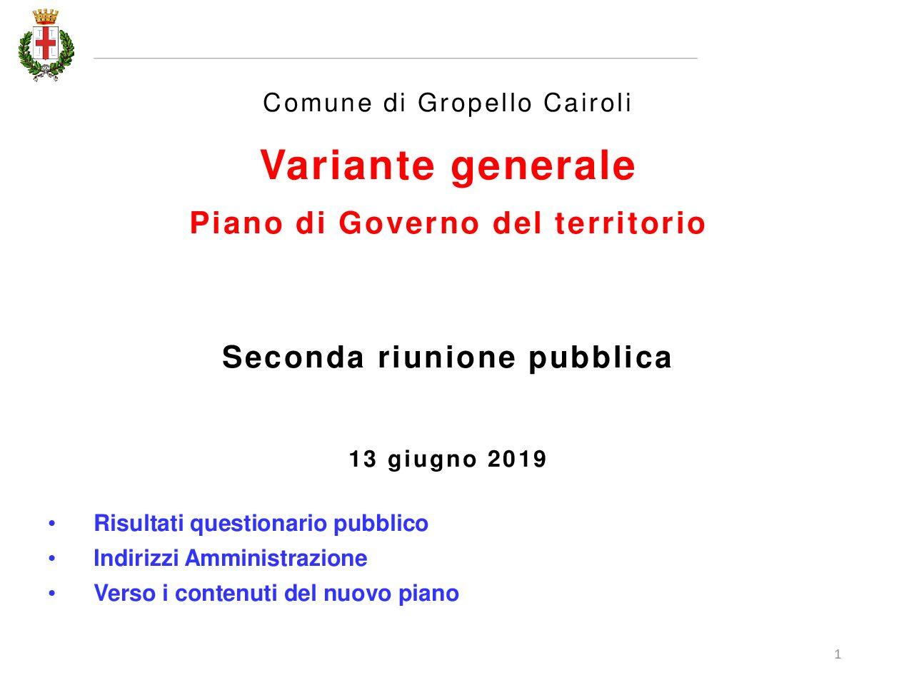 Variante Generale PGT – Seconda riunione pubblica