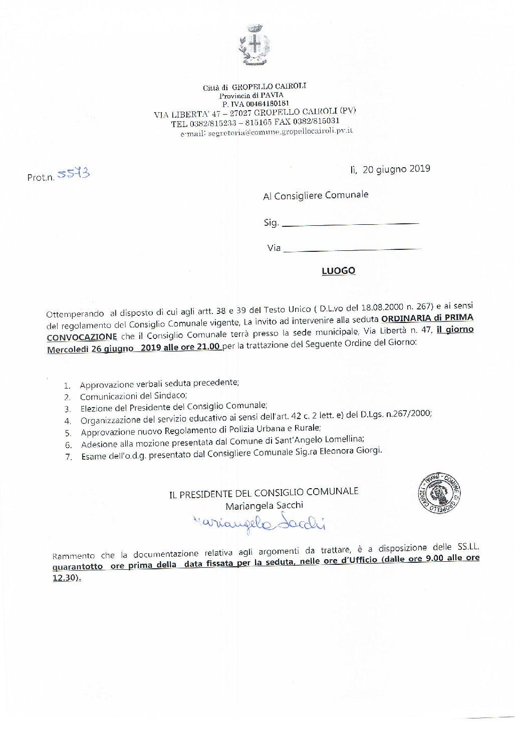 Consiglio Comunale del 26 Giugno 2019 ore 21.00
