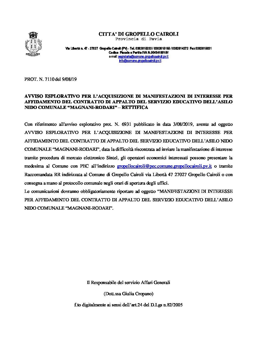 """Avviso esplorativo per l'acquisizione di manifestazioni di interesse per affidamento del contratto di appalto del servizio educativo dell'asilo nido comunale """"Magnani-Rodari"""" – SECONDA RETTIFICA"""