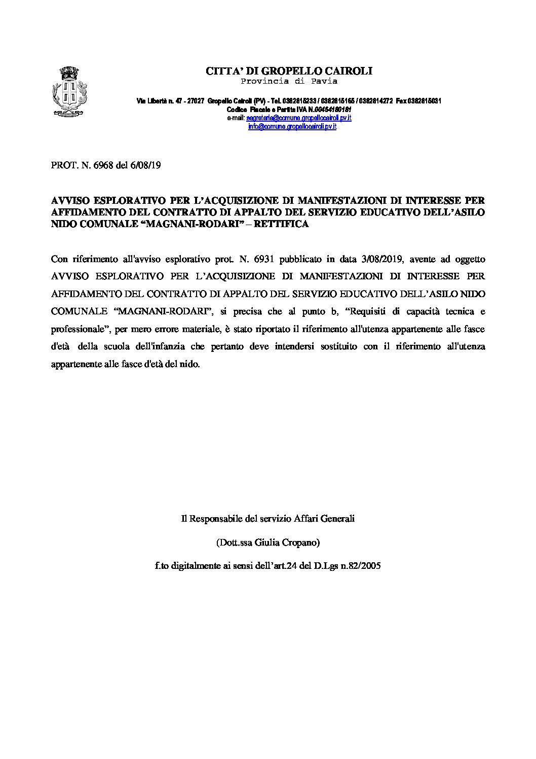 """Avviso esplorativo per l'acquisizione di manifestazioni di interesse per affidamento del contratto di appalto del servizio educativo dell'asilo nido comunale """"Magnani-Rodari"""" – RETTIFICA"""