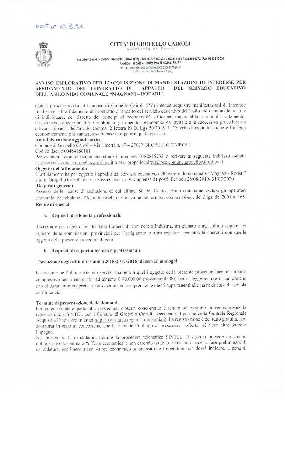 """Avviso esplorativo per l'acquisizione di manifestazioni di interesse per affidamento del contratto di appalto del servizio educativo dell'asilo nido comunale """"Magnani/Rodari""""."""