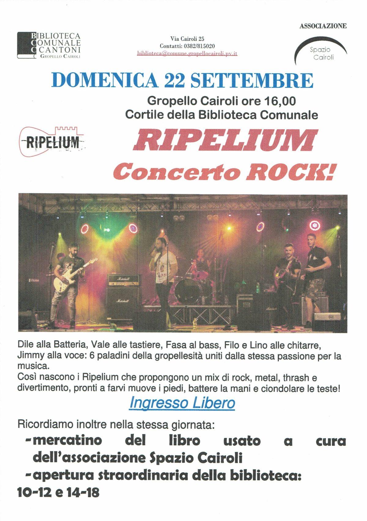 Biblioteca: domenica 22 settembre ore 16 concerto rock dei Ripelium, apertura straordinaria della biblioteca e mercatino del libro usato