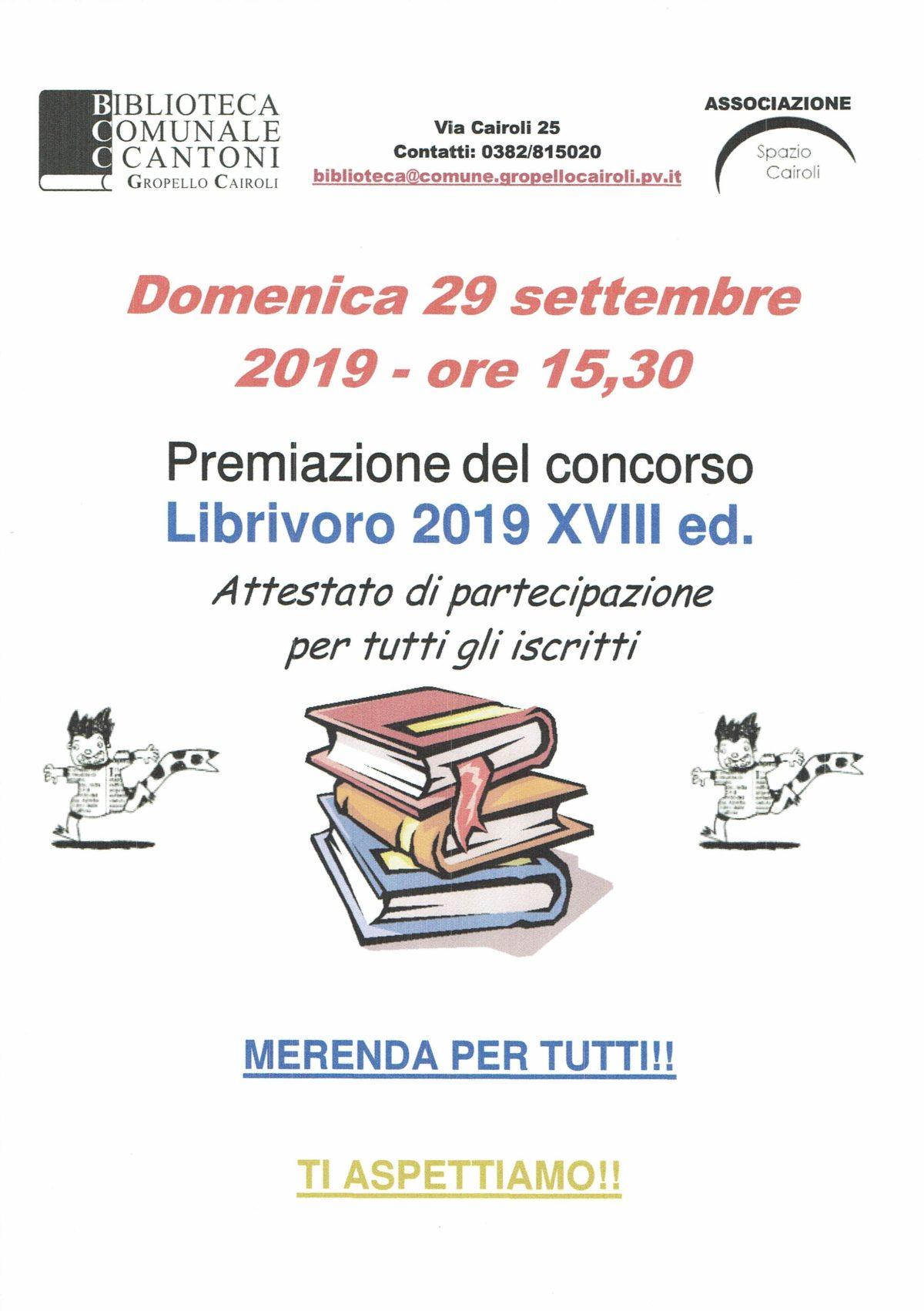 Locandina Premiazione Librivoro 2019