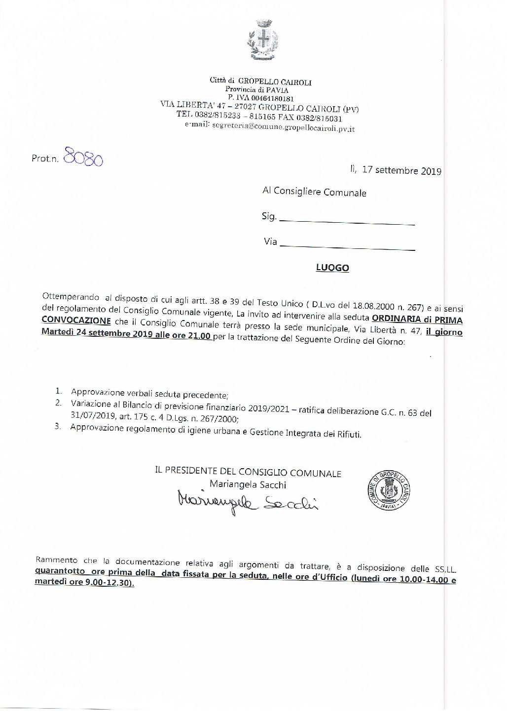 Consiglio Comunale del 24 Settembre 2019 – Ordine del giorno