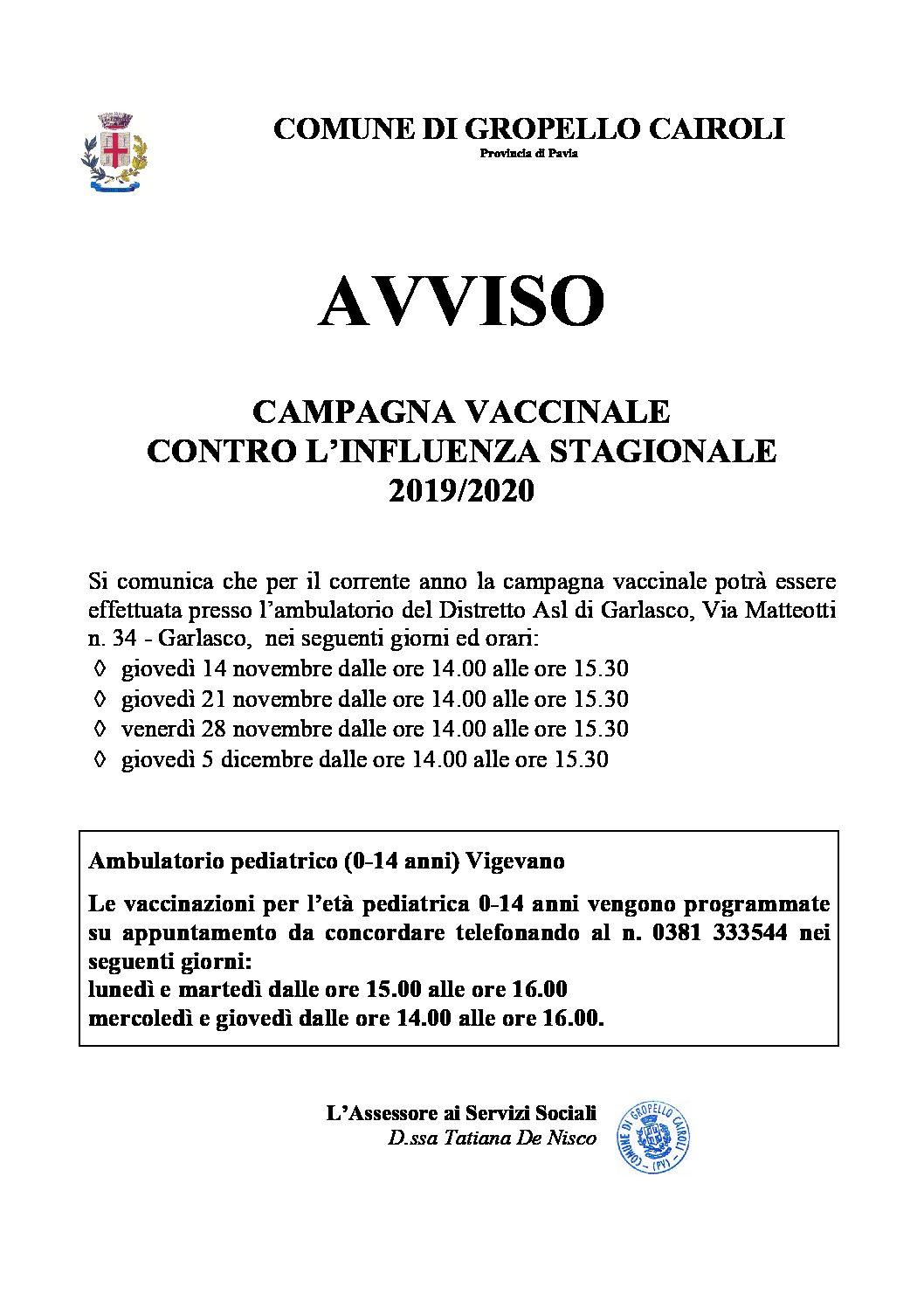 Campagna vaccinale contro l'influenza stagionale 2019/2020