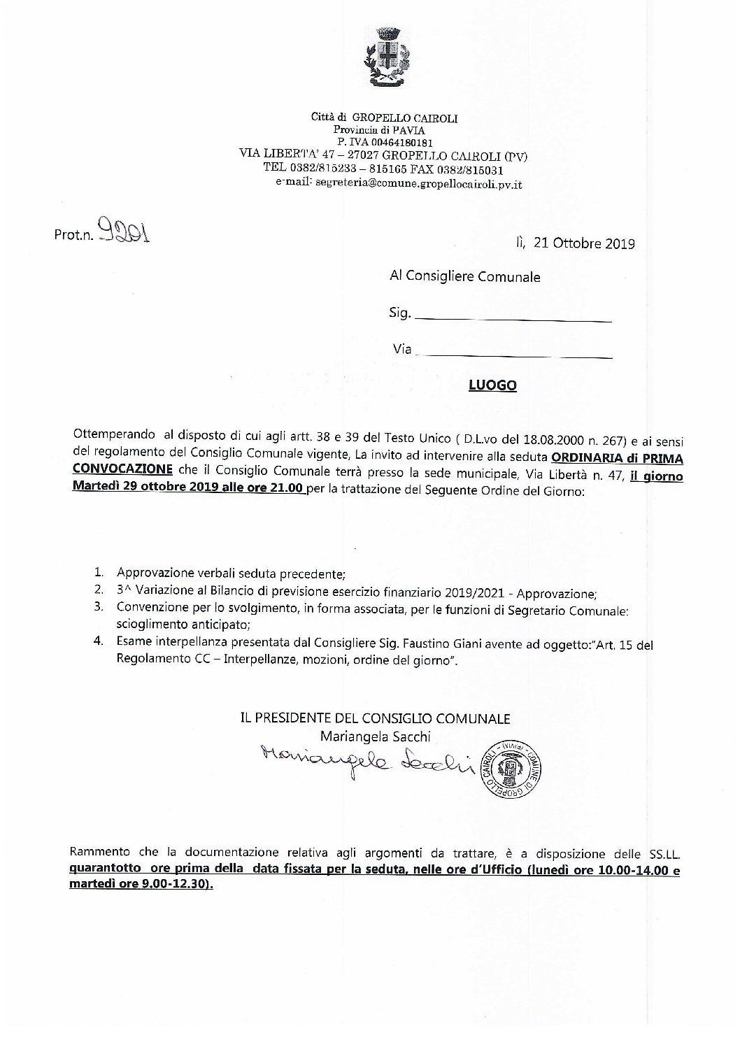Consiglio Comunale del 29 Ottobre 2019 ore 21.00 – Ordine del giorno