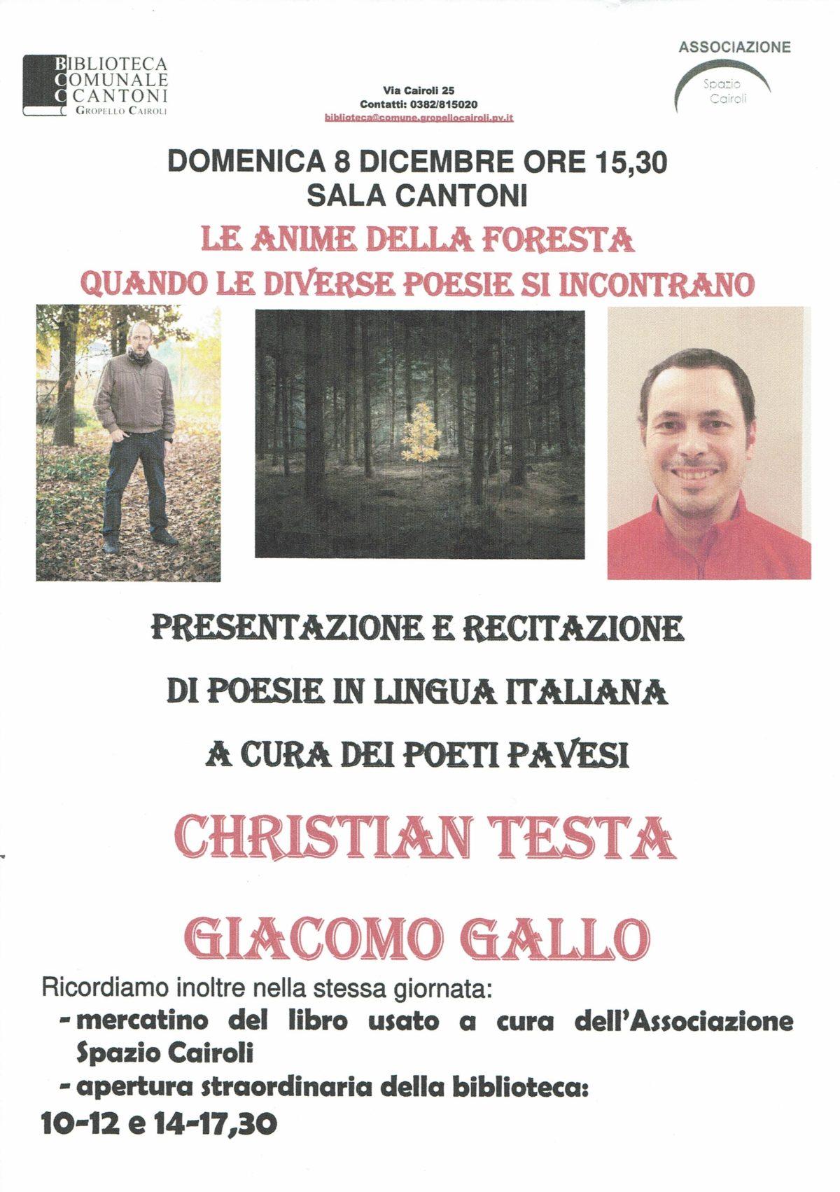 Biblioteca di Gropello C.: domenica 8 dicembre ore 15,30 Presentazione di poesie dei poeti pavese Christian Testa e Giacomo Gallo