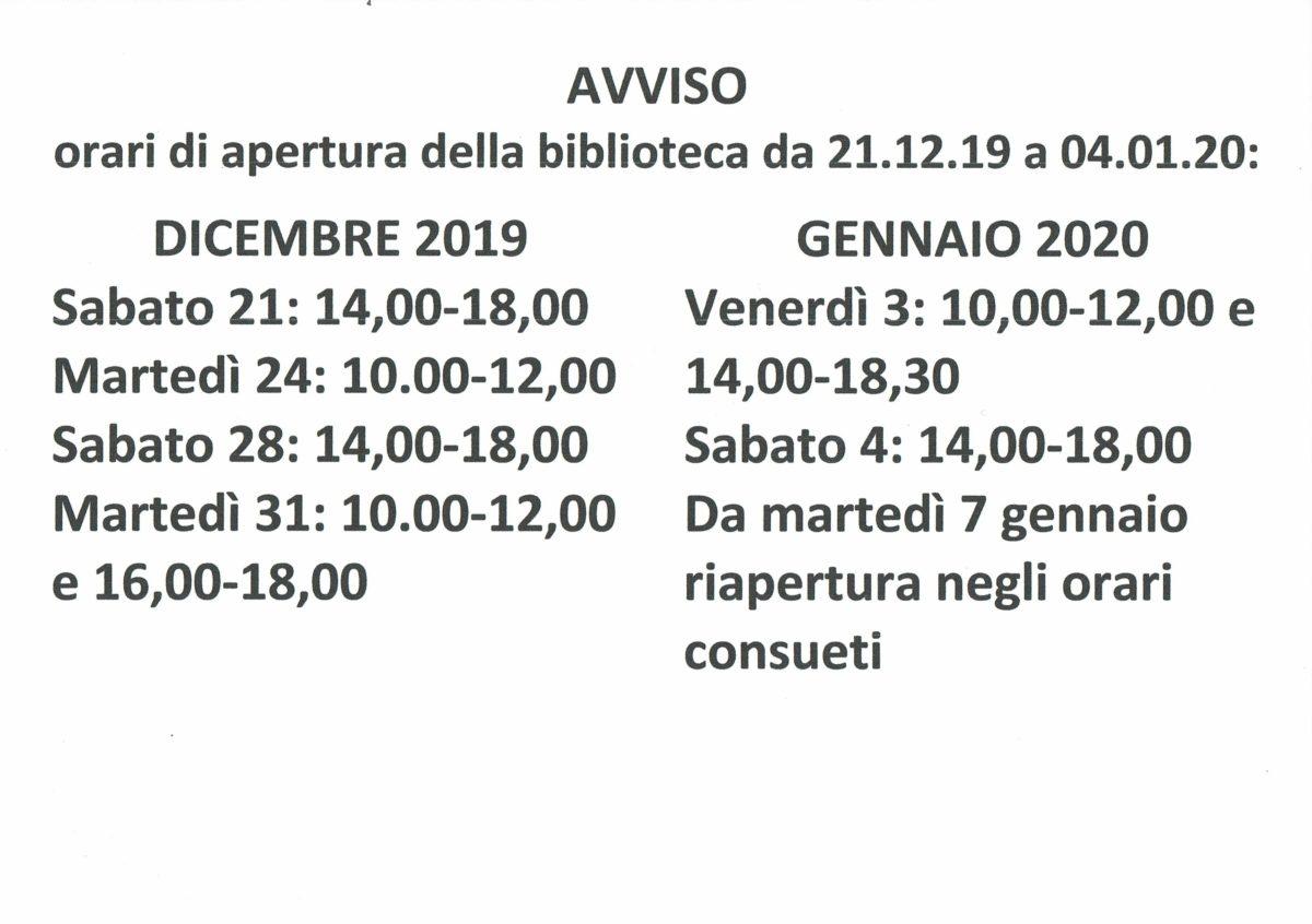 Biblioteca di Gropello Cairoli: orari di apertura al pubblico da 21.12.2019 a 04.01.2020