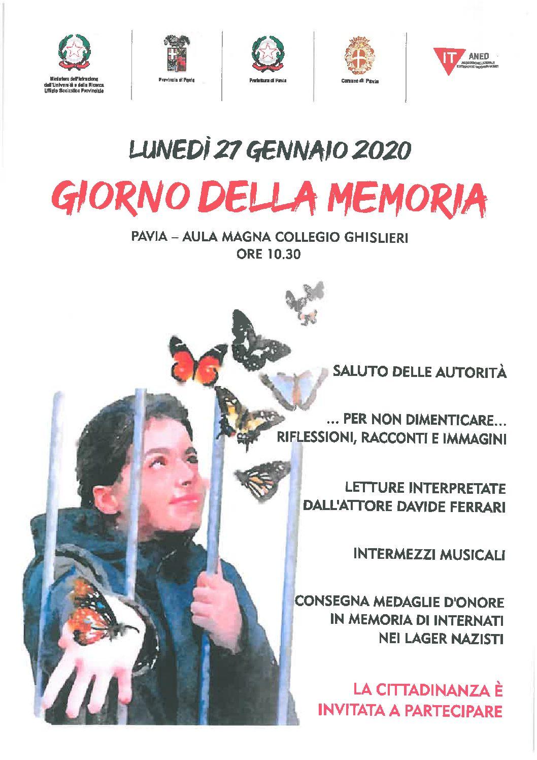 Lunedì 27 gennaio – Giorno della Memoria 2020 a Pavia Aula Magna Collegio Ghislieri