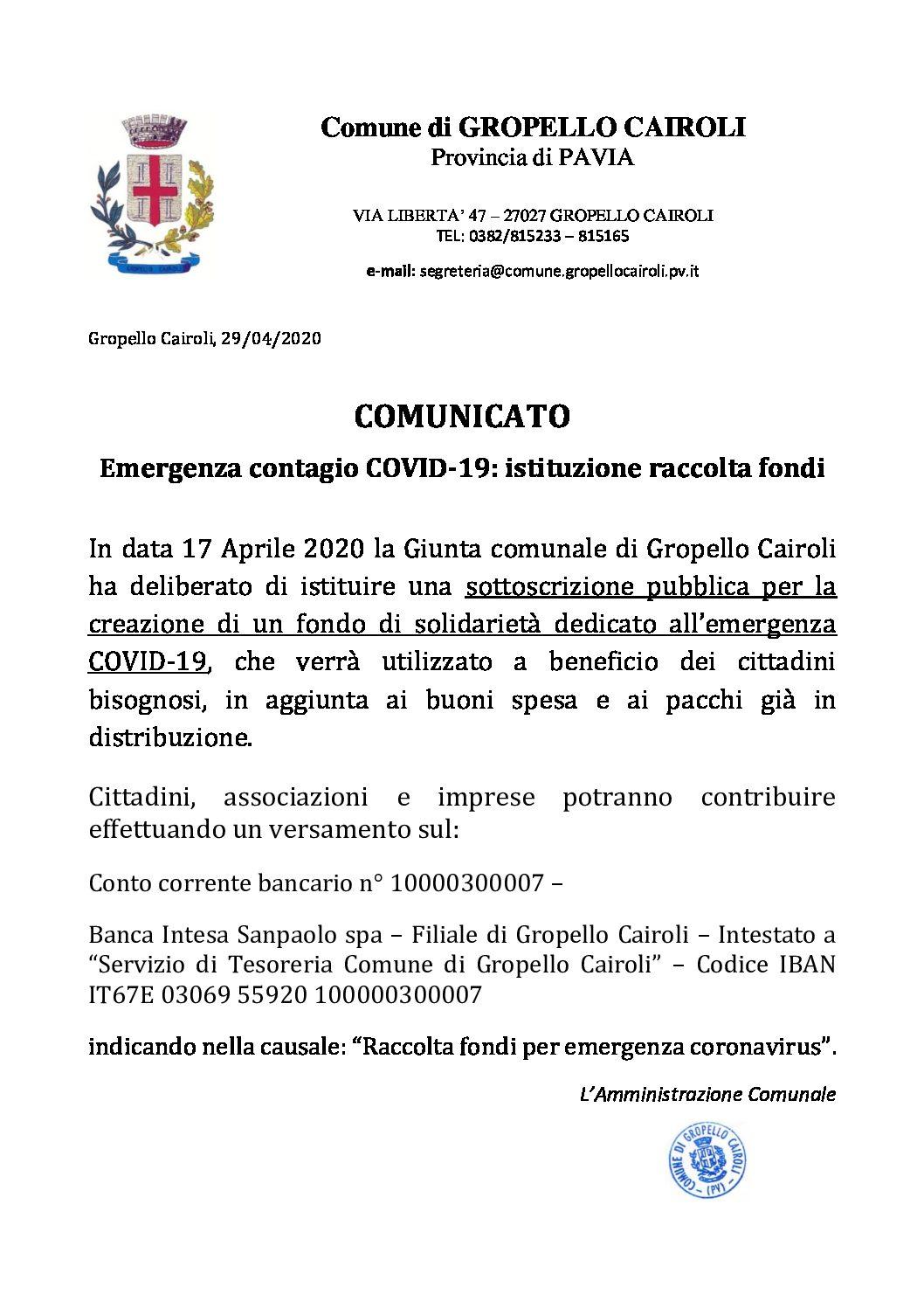 EMERGENZA CONTAGIO COVID-19: ISTITUZIONE RACCOLTA FONDI.