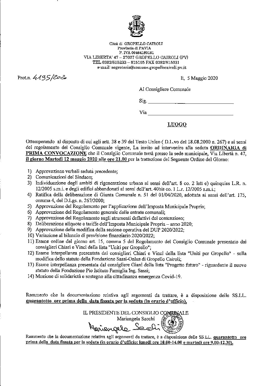 CONVOCAZIONE CONSIGLIO COMUNALE DI MARTEDI' 12 MAGGIO 2020.