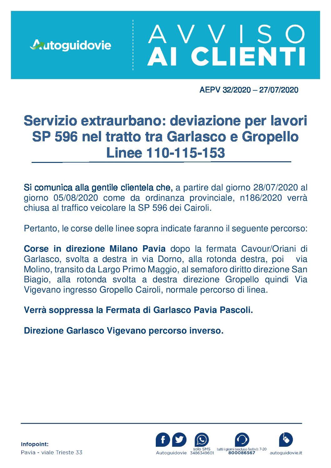 AUTOGUIDOVIE: DEVIAZIONE PER LAVORI SP 596 NEL TRATTO TRA GARLASCO E GROPELLO
