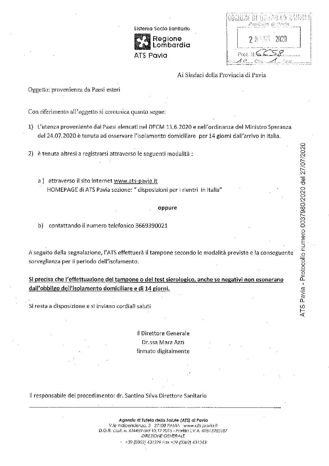 REGIONE LOMBARDIA-ATS PAVIA: PROVENIENZA DA PAESI ESTERI.