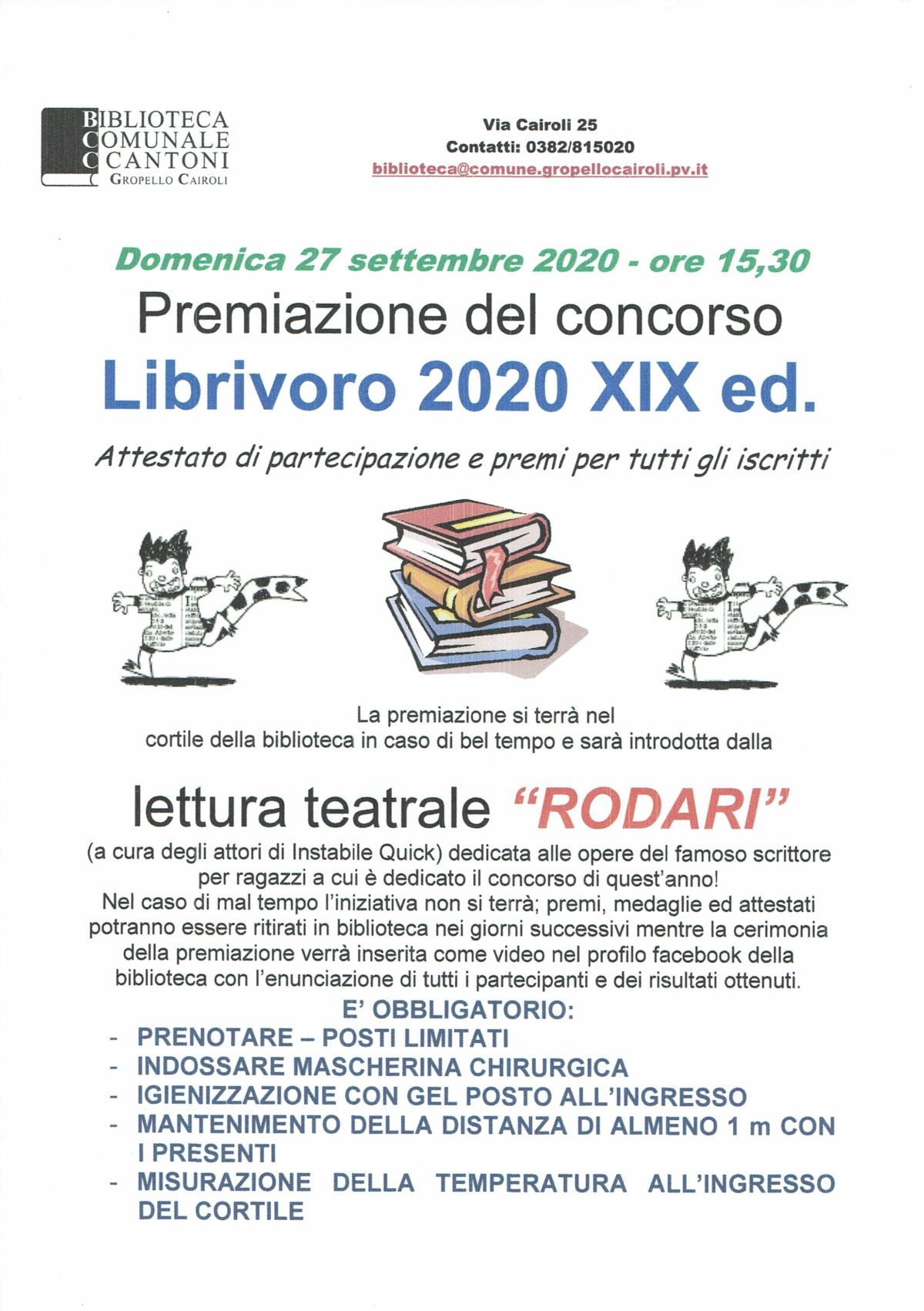 """Biblioteca: domenica 27 settembre premiazione concorso di lettura Librivoro 2020 e lettura teatrale """"Rodari"""""""