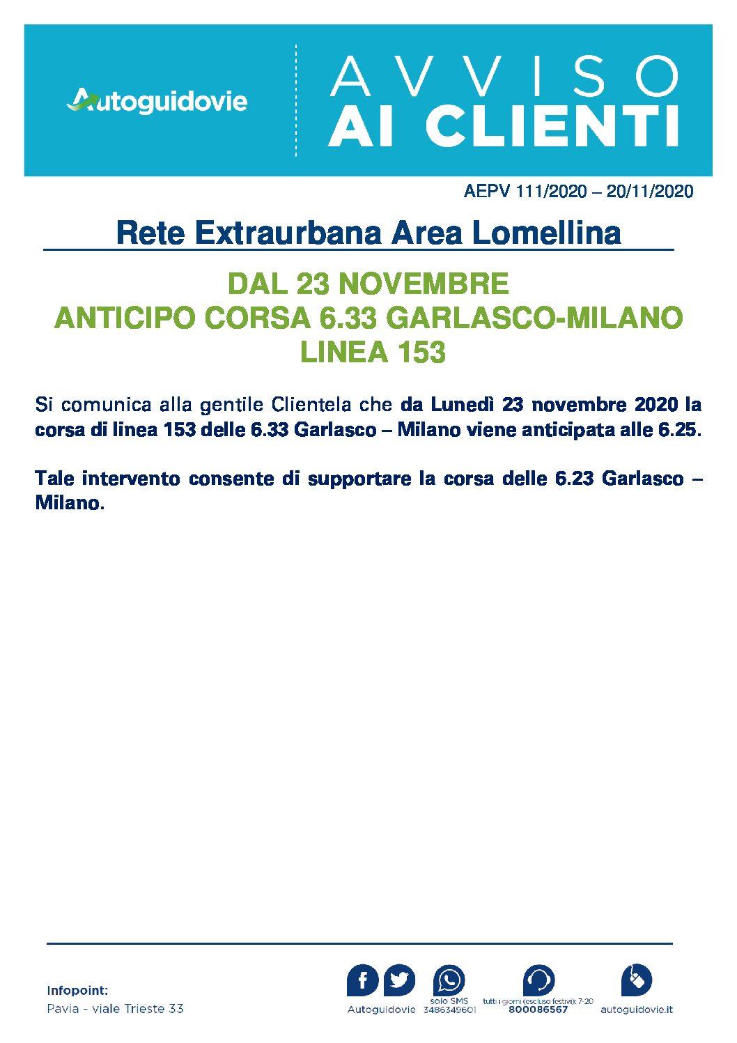 AUTOGUIDOVIE: DAL 23 NOVEMBRE ANTICIPO CORSA 6.33 GARLASCO-MILANO LINEA 153