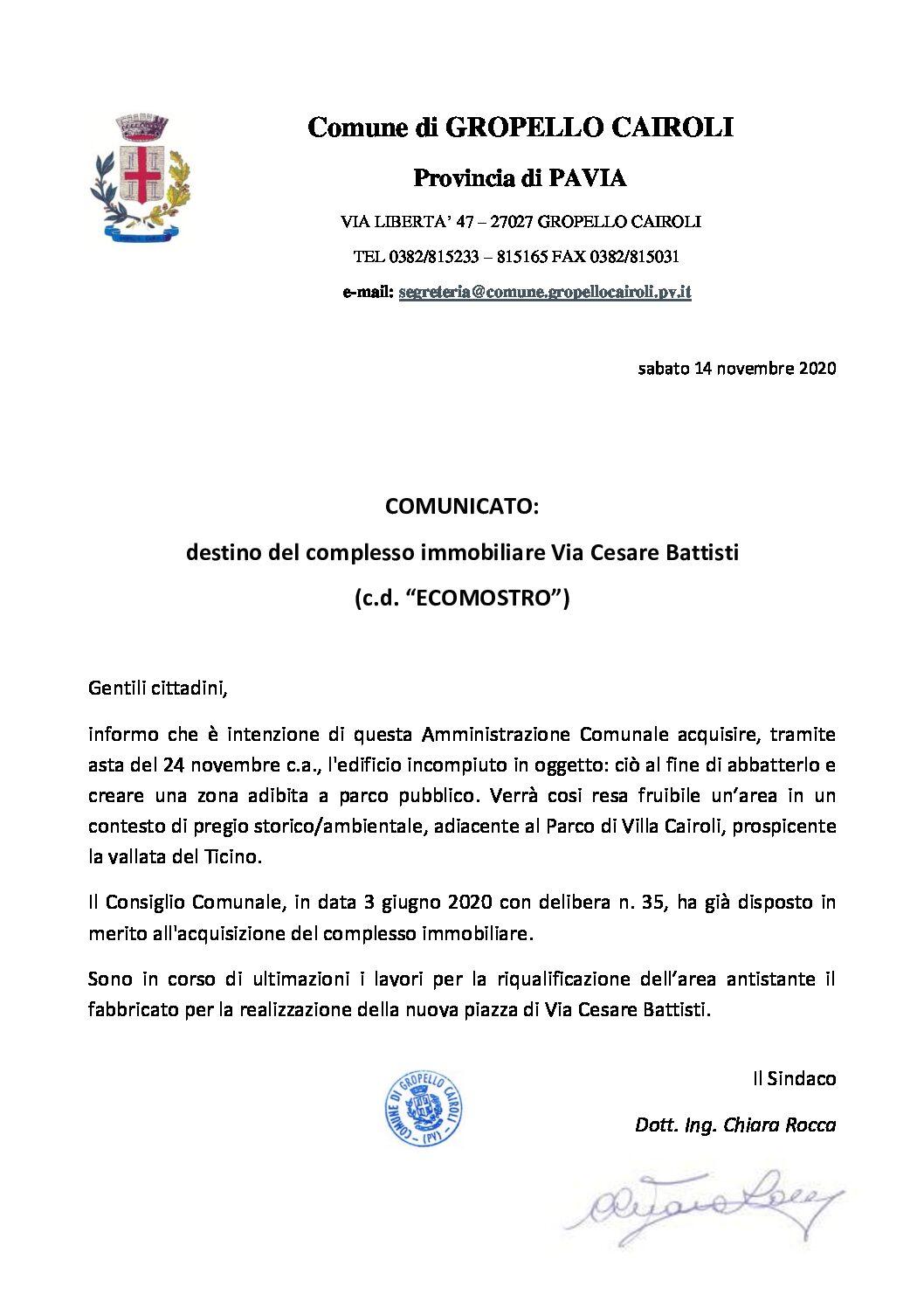 """COMUNICATO: destino del complesso immobiliare Via Cesare Battisti (c.d. """"ECOMOSTRO"""")"""