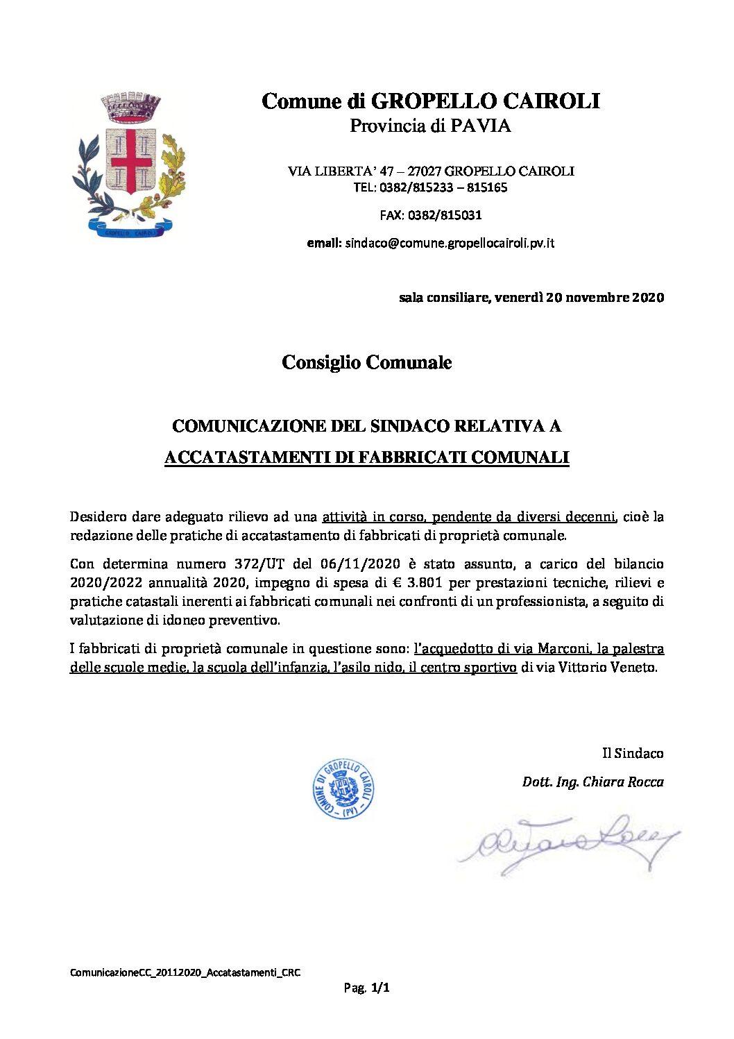 COMUNICAZIONE DEL SINDACO RELATIVA ACCATASTAMENTI DI FABBRICATI COMUNALI