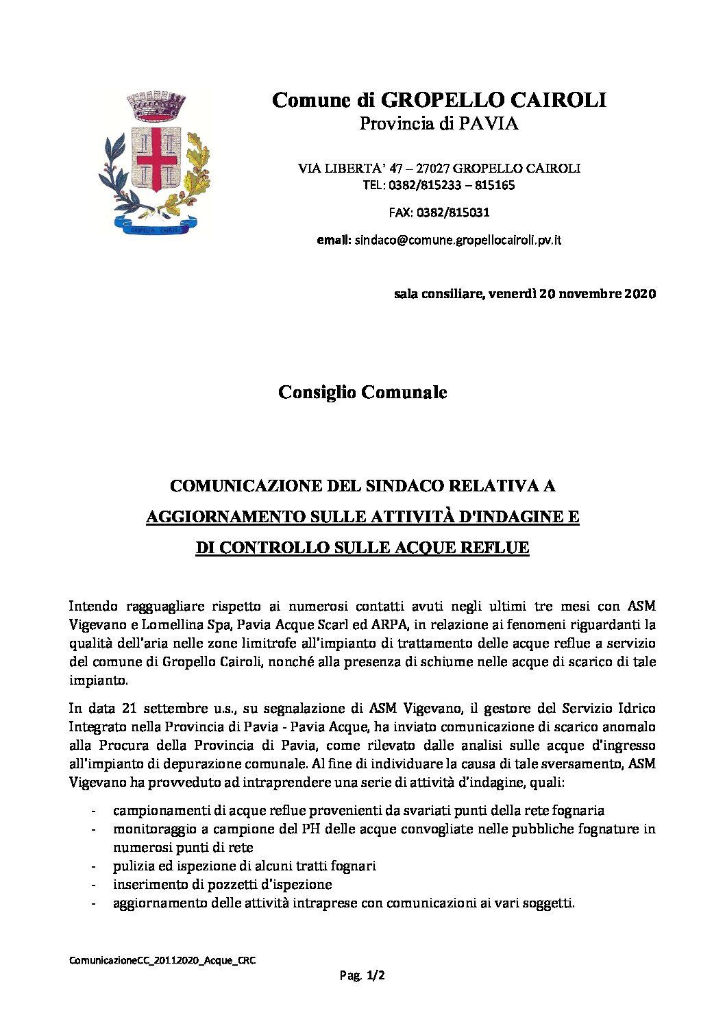 COMUNICAZIONE DEL SINDACO RELATIVA A AGGIORNAMENTO SULLE ATTIVITÀ D'INDAGINE E  DI CONTROLLO SULLE ACQUE REFLUE