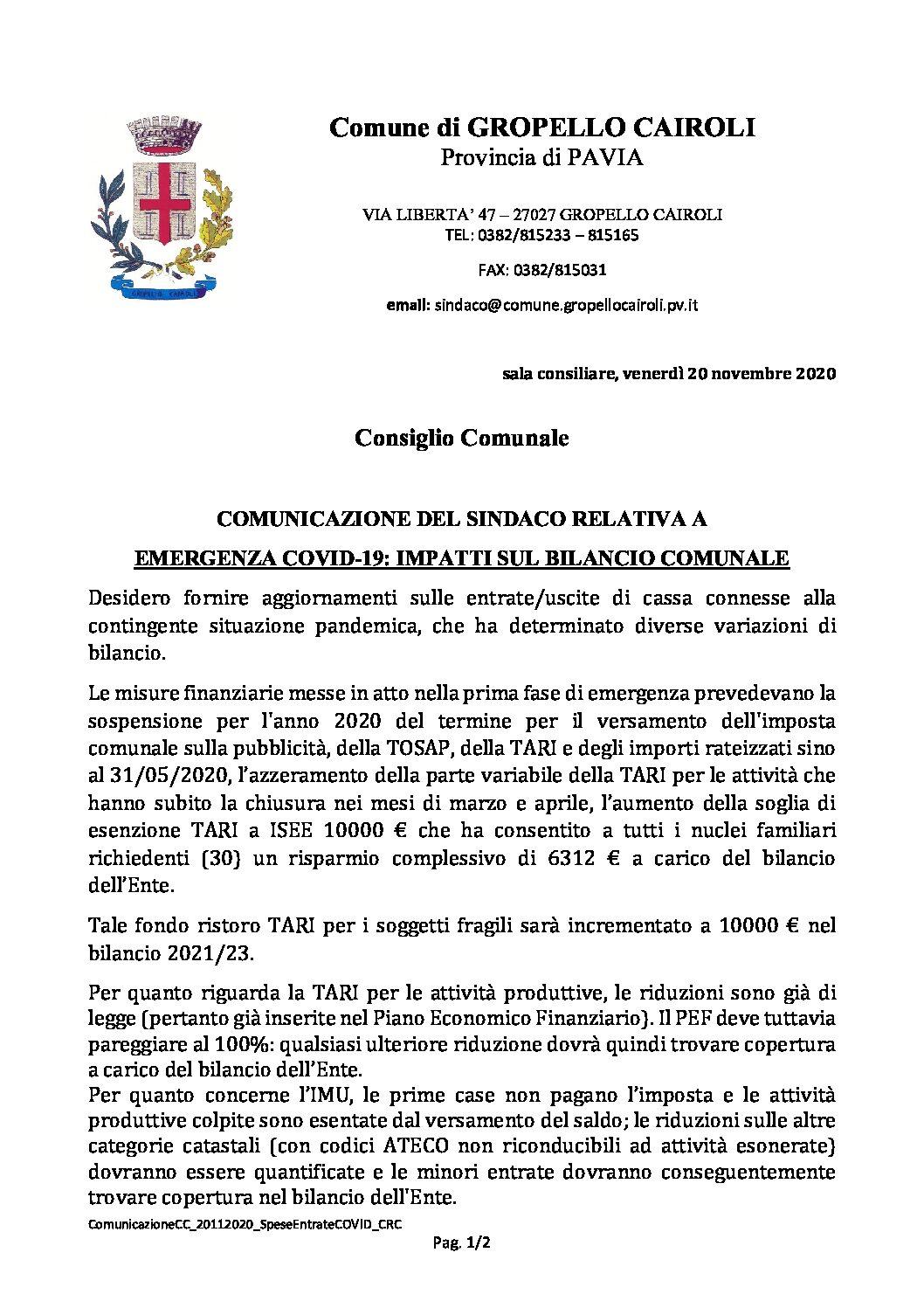 COMUNICAZIONE DEL SINDACO RELATIVA A EMERGENZA COVID-19: IMPATTI SUL BILANCIO COMUNALE