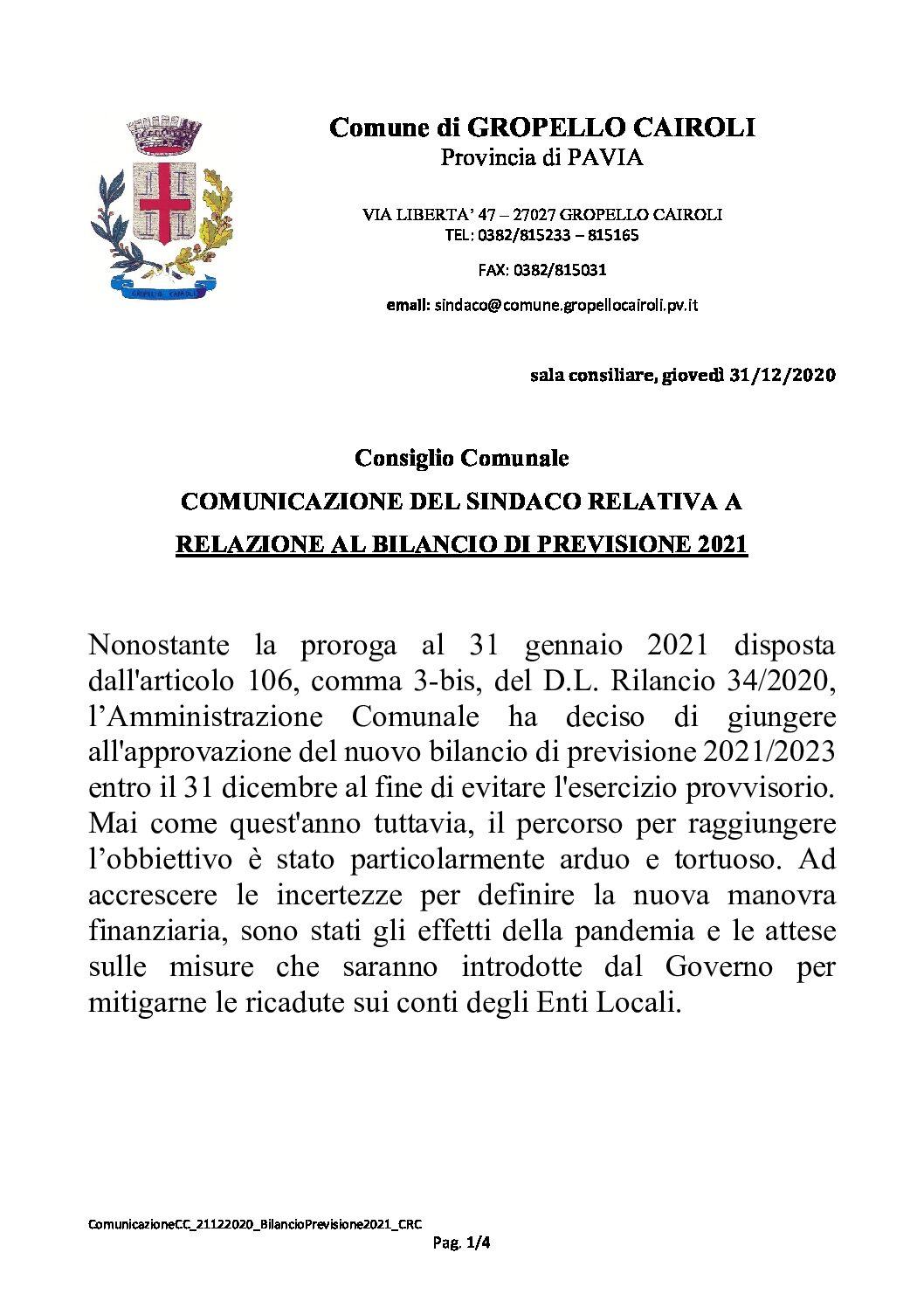 CONSIGLIO COMUNALE: COMUNICAZIONE DEL SINDACO RELATIVA A RELAZIONE AL BILANCIO DI PREVISIONE 2021