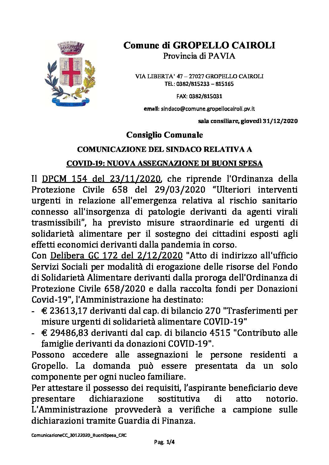 CONSIGLIO COMUNALE: COMUNICAZIONE DEL SINDACO RELATIVA A COVID-19, NUOVA ASSEGNAZIONE DI BUONI SPESA