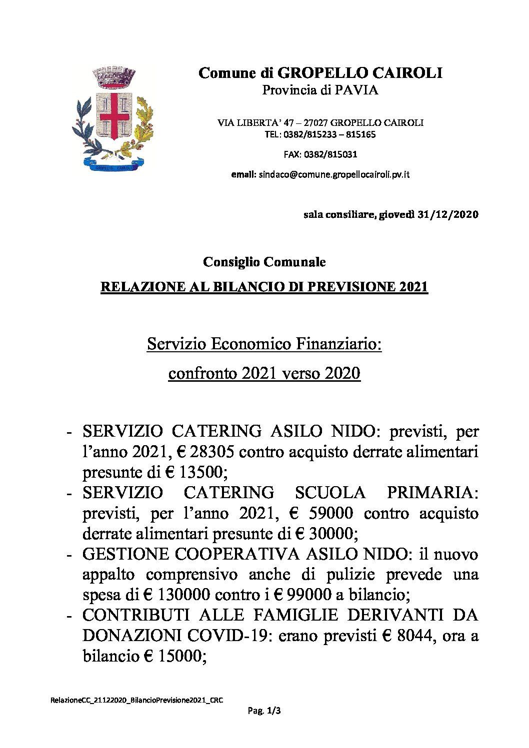 CONSIGLIO COMUNALE: RELAZIONE AL BILANCIO DI PREVISIONE 2021