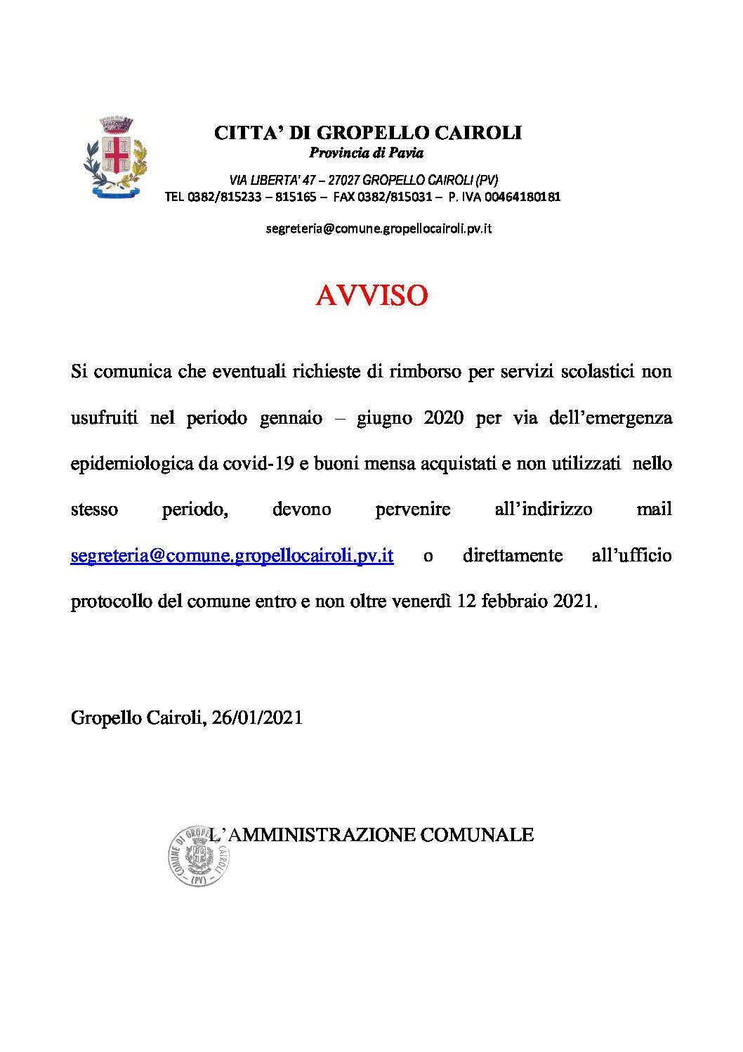 AVVISO RIMBORSO SERVIZI SCOLASTICI, GENNAIO-GIUGNO 2020