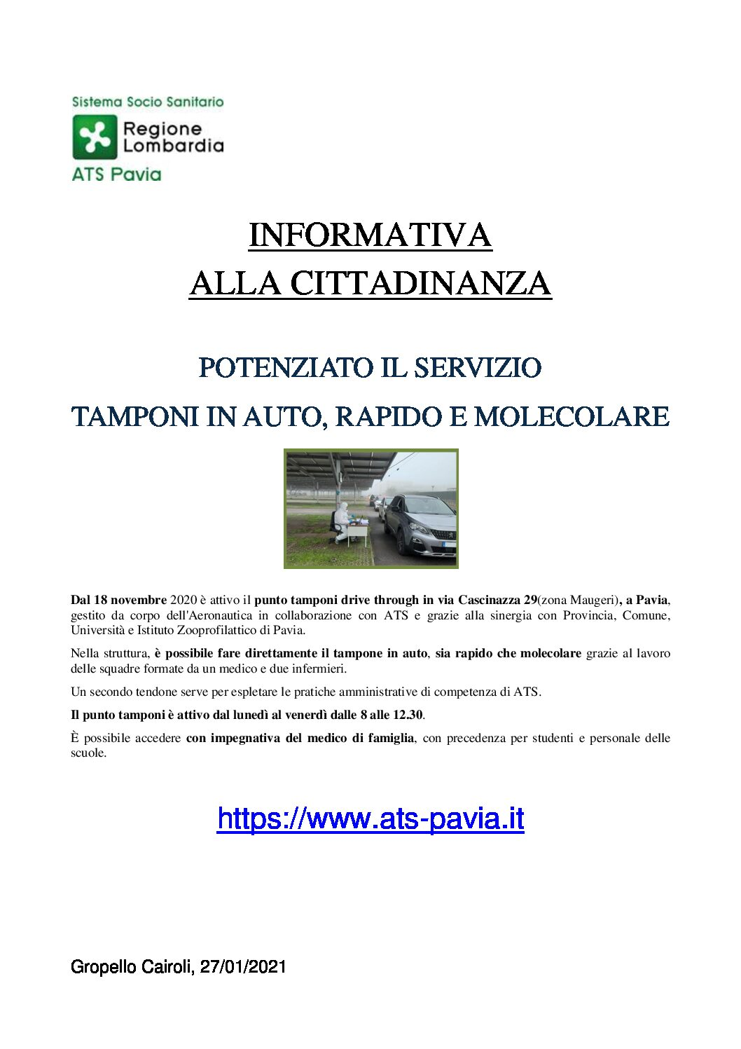 ATS: INFORMATIVA ALLA CITTADINANZA