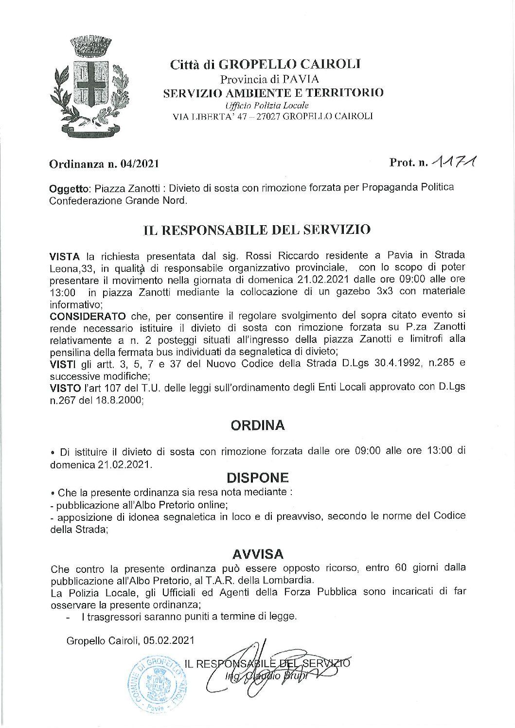 ORDINANZA N. 04/2021 DEL RESPONSABILE DI SERVIZIO