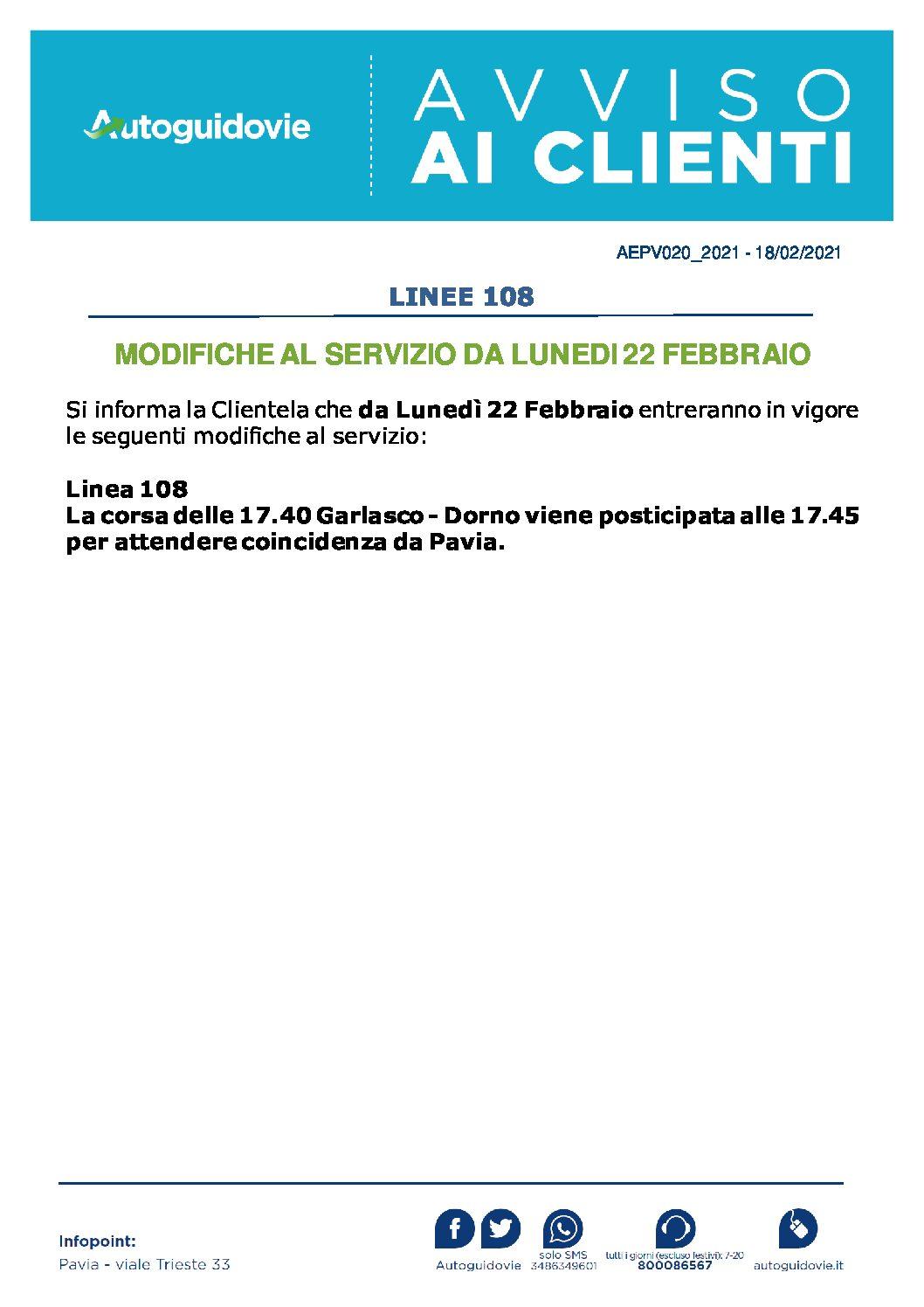 AUTOGUIDOVIE: MODIFICHE AL SERVIZIO DA LUNEDI 22 FEBBRAIO