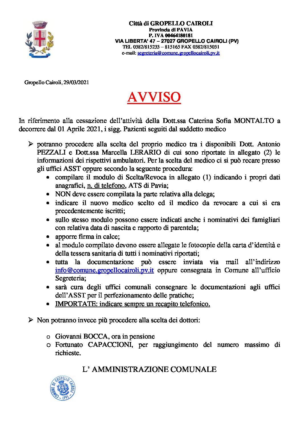 AVVISO: SCELTA E REVOCA MEDICO DI BASE