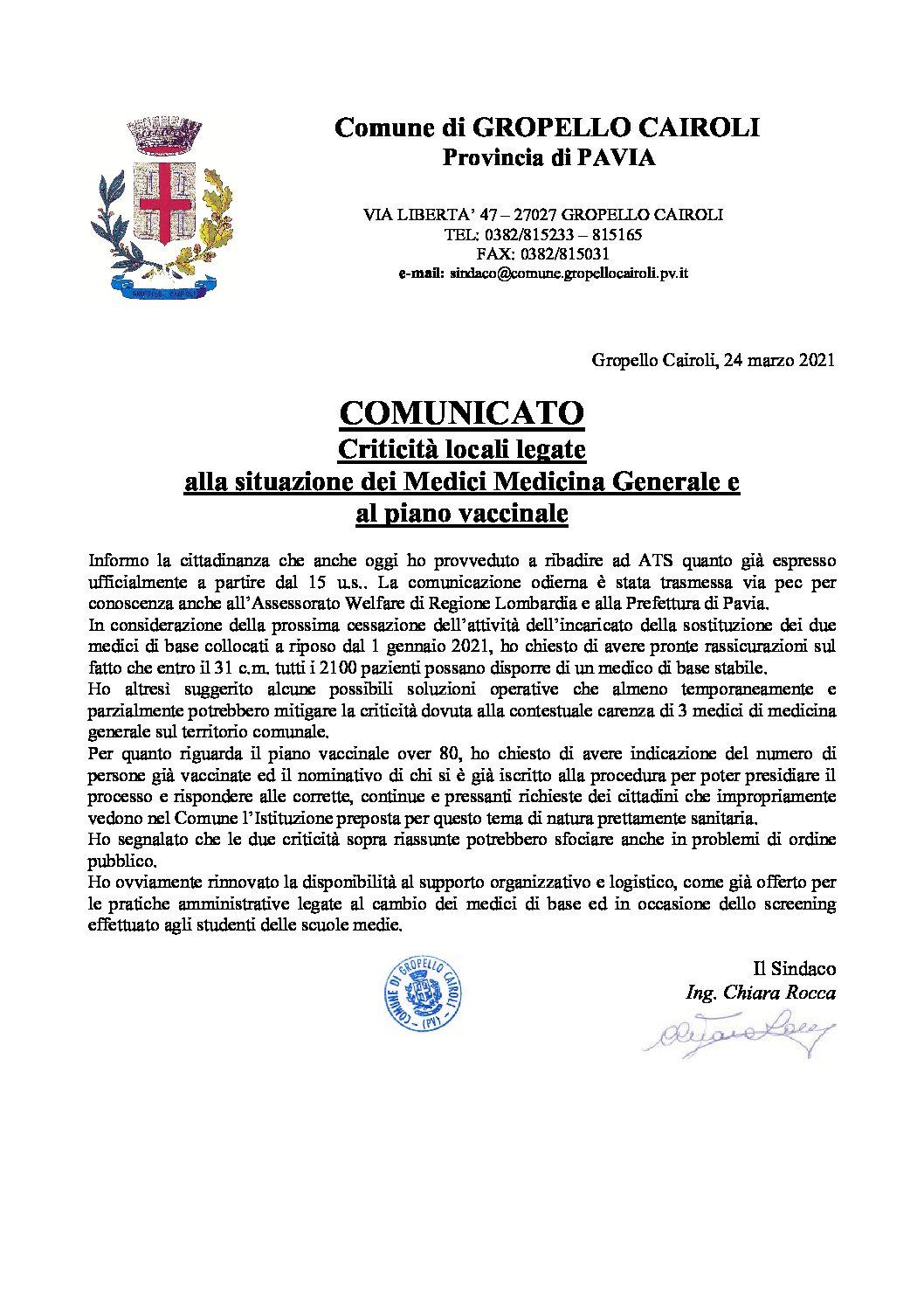 CRITICITA' SANITARIE LOCALI: COMUNICATO DEL SINDACO