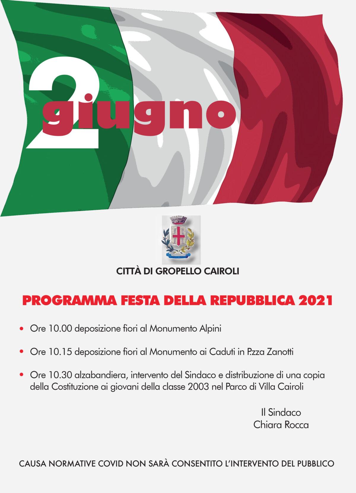 Festa della Repubblica 2021 - Comune di Gropello Cairoli