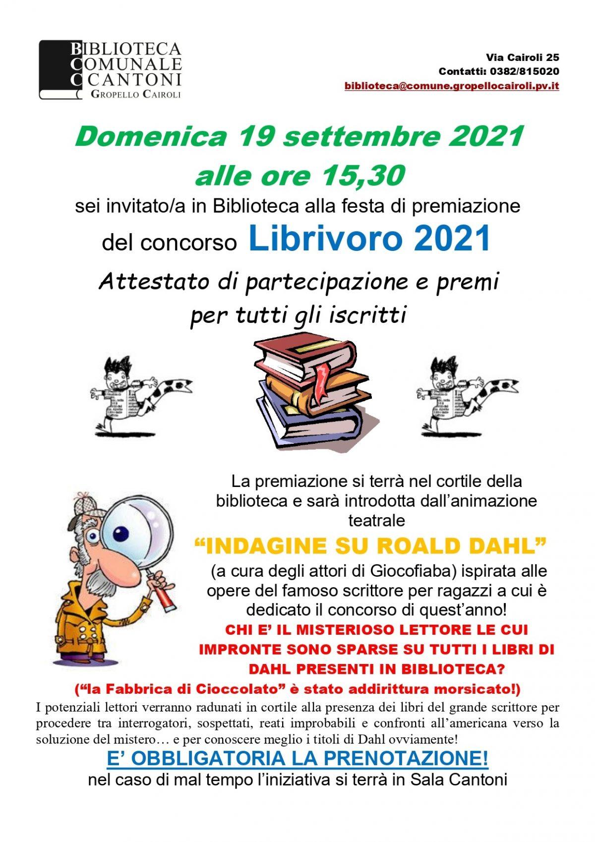 Biblioteca: domenica 19 settembre Premiazione del concorso di lettura Librivoro 2021, XX edizione